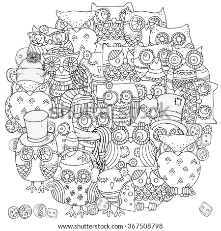 Circle shape pattern for coloring book. Owls. Black and white  background. Artistically drawn, zentangle patterns, mandala, stylized, feathers. Black and white. - stock vector