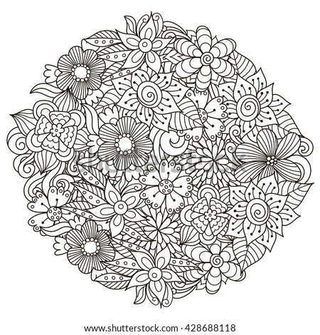 Circle Shape Pattern With Cute Flowers For Coloring Book Vector Illustration