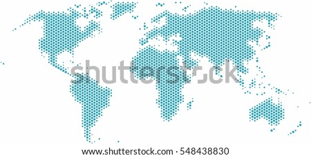 Circle shape world map on white background, vector illustration.
