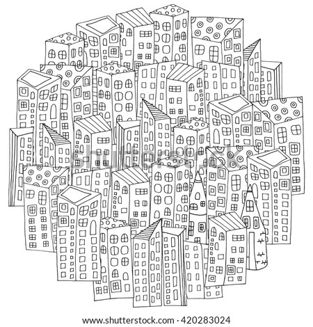 Circle shaped pattern for coloring book page with city houses. Magic City. Street background.  Made by trace from sketch. Ink pen. Zentangle. Black and white pattern in vector. - stock vector