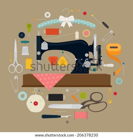 Circle shaped sewing items set featuring vintage sewing machine on beige background - stock vector