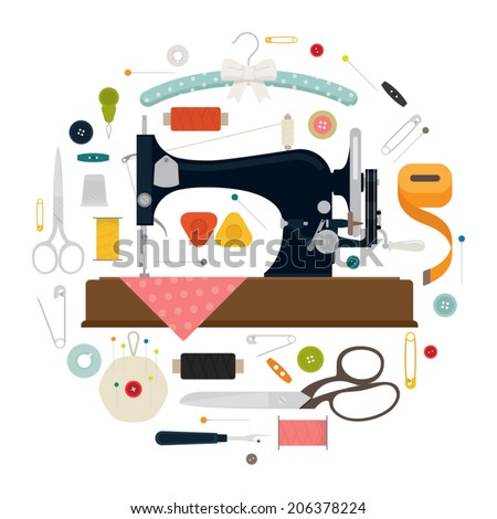Circle shaped sewing items set featuring vintage sewing machine on white background - stock vector