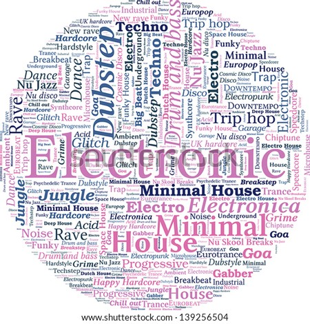 Circle Shaped Word Cloud - Electronic Music Concept - stock vector