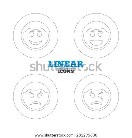 Circle smile face icons. Happy, sad, cry signs. Happy smiley chat symbol. Sadness depression and crying signs. Linear outline web icons. Vector - stock vector