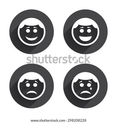 Circle smile face icons. Happy, sad, cry signs. Happy smiley chat symbol. Sadness depression and crying signs. Circles buttons with long flat shadow. Vector - stock vector