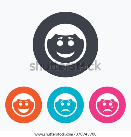 Circle smile face icons. Happy, sad, cry signs. Happy smiley chat symbol. Sadness depression and crying signs. Circle flat buttons with icon. - stock vector
