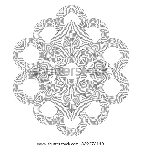 Circle spiral ornament. Op art lined mandala. Painting book. Black and white background. - stock vector