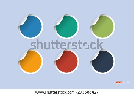 circle stickers, 6 color, Vector EPS 10