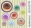 Circle Stickers with Donuts - stock vector