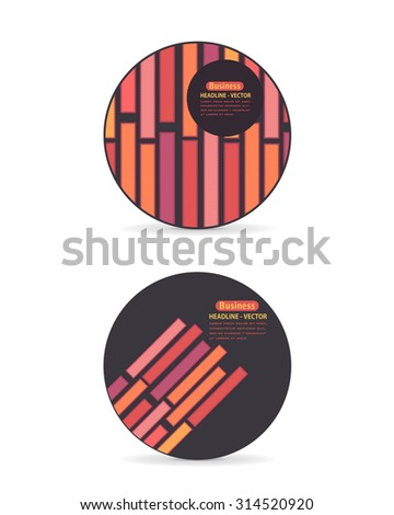 Circle Style Frame Multicolor Line and Blocks Elements Banner Design, Web Advertising Vector Set - stock vector