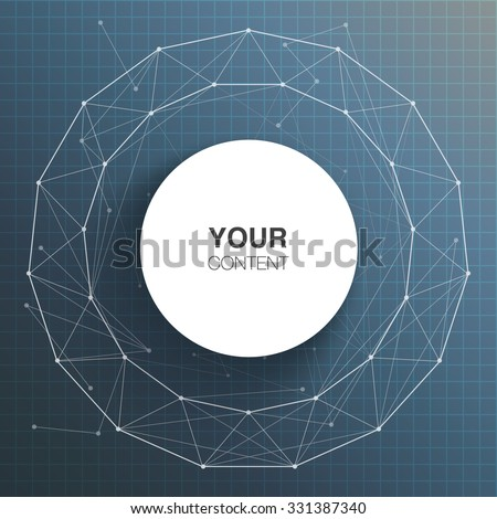 Circle text box design for your content with abstract polygon background vector stock eps 10 illustration - stock vector
