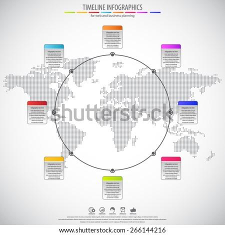 Circle timeline infographics flat style background vectores en stock circle timeline infographics flat style background with dotted world map gumiabroncs Choice Image