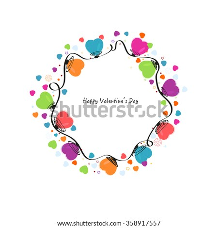 Circle valentine day colorful hearts vector greeting card background