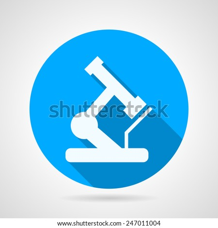 Circle vector icon for microscope. Round blue flat vector icon with white silhouette microscope a side view on gray background. Long shadow design. - stock vector