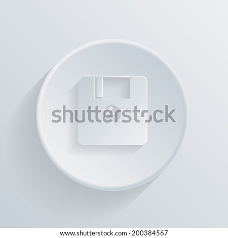circle white paper icon with a long shadow.  floppy, diskette