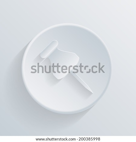 circle white paper icon with a long shadow.  pin for papers