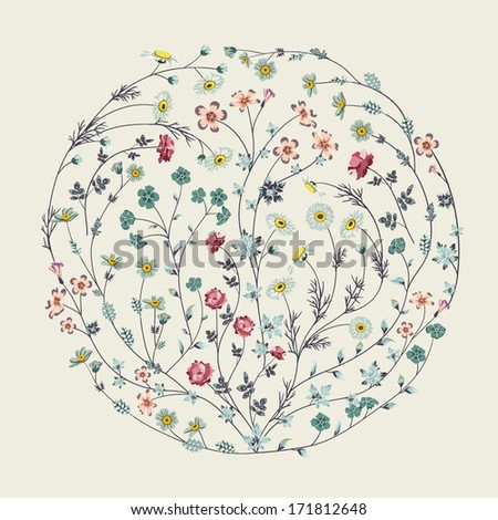 Circle with flowers - stock vector