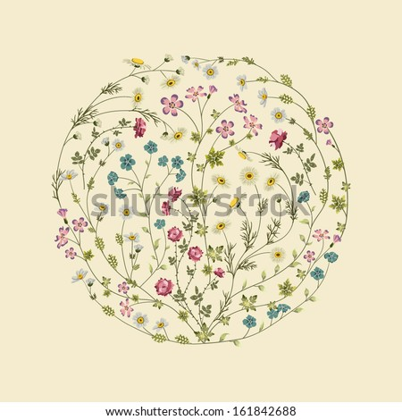 Circle with flowers. Floral frame template - stock vector