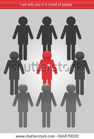 Circle with many persons. Group of people. Vector Illustration - stock vector