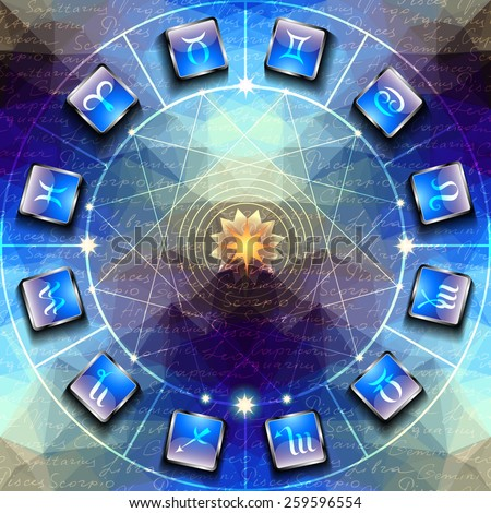 Circle with signs of zodiac on icons and geometric blue background with inscriptions. The background may be used as seamless pattern. - stock vector