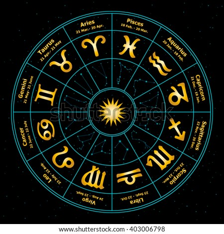 Circle with signs of zodiac. Vector illustration. Astrology.