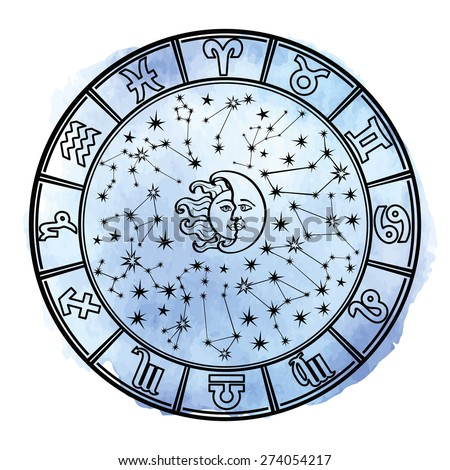 Circle with Zodiac sign.Horoscope constellation,stars ,sun and moon.Cyan Watercolor stein,hand painting spot,sky.White background.Artistic Vector  Illustration.