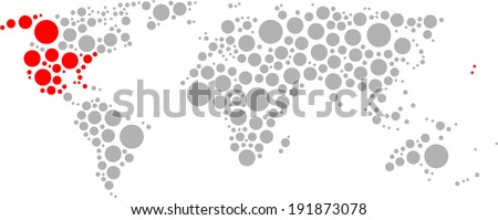 Circle World, Red America - stock vector