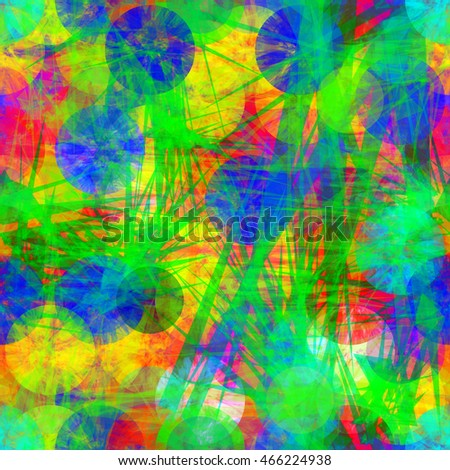 Circles as grunge disks. Sharp edged elements like scratches or thorns. Bright colorful pattern. Abstract seamless vector background.