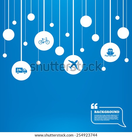 Circles background with lines. Cargo truck and shipping icons. Shipping and eco bicycle delivery signs. Transport symbols. 24h service. Icons tags hanged on the ropes. Vector - stock vector