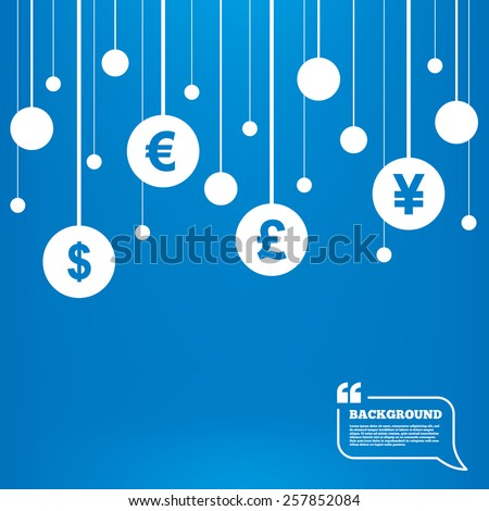 Circles background with lines. Dollar, Euro, Pound and Yen currency icons. USD, EUR, GBP and JPY money sign symbols. Icons tags hanged on the ropes. Vector - stock vector