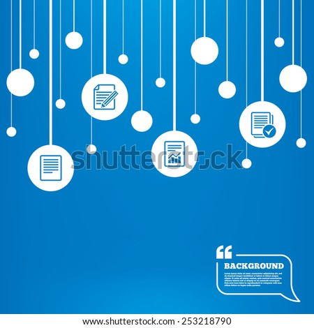 Circles background with lines. File document icons. Document with chart or graph symbol. Edit content with pencil sign. Select file with checkbox. Icons tags hanged on the ropes. Vector - stock vector