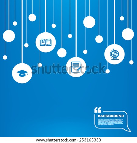 Circles background with lines. Pencil with document and open book icons. Graduation cap and geography globe symbols. Learn signs. Icons tags hanged on the ropes. Vector - stock vector