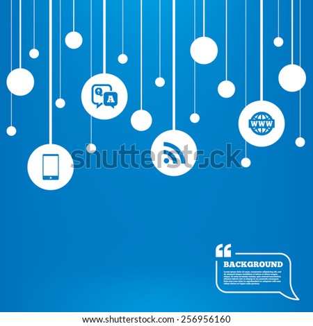 Circles background with lines. Question answer icon.  Smartphone and Q&A chat speech bubble symbols. RSS feed and internet globe signs. Communication Icons tags hanged on the ropes. Vector - stock vector