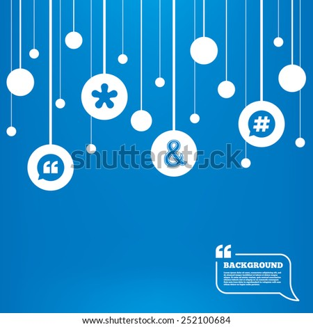 Circles background with lines. Quote, asterisk footnote icons. Hashtag social media and ampersand symbols. Programming logical operator AND sign. Speech bubble. Icons tags hanged on the ropes. Vector - stock vector