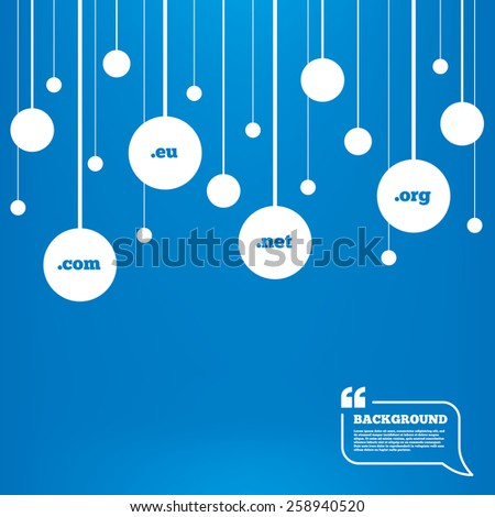 Circles background with lines. Top-level internet domain icons. Com, Eu, Net and Org symbols. Unique DNS names. Icons tags hanged on the ropes. Vector - stock vector