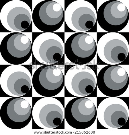 Circles In Circles pattern in black and white repeats seamlessly. - stock vector