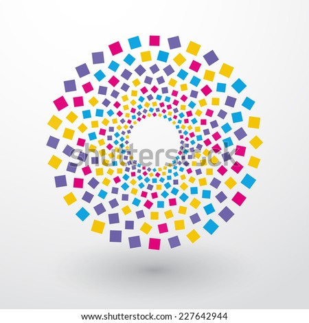 circles of colored squares