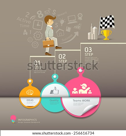 Circles paper step, business man infographic design, vector illustrations - stock vector