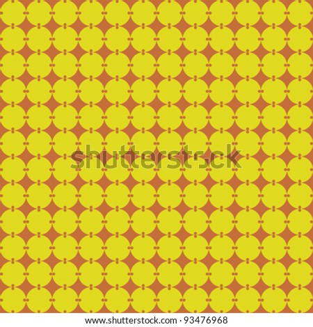 Circles pattern seamless in orange and yellow - stock vector