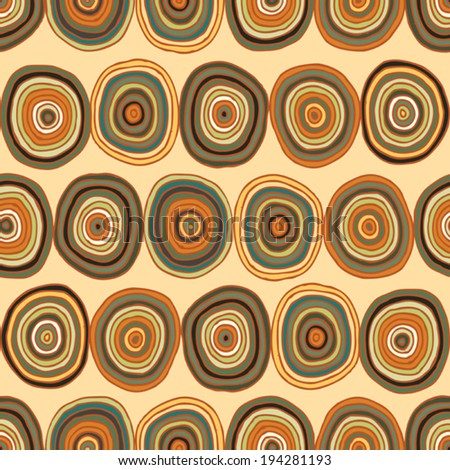 Circles seamless pattern in colors is hand drawn composition. Illustration is in eps8 vector mode, background on separate layer.