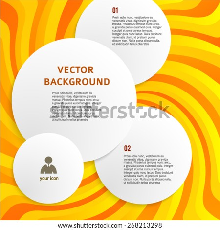 Circles with drop shadows on yellow swirl background. Vector illustration EPS 10 for infographic website or flyer, presentation template, brochure page layout, cover book or magazine - stock vector