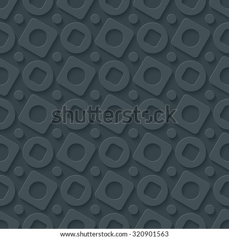 Circless and squares seamless pattern. 3d seamless background. Vector EPS10.