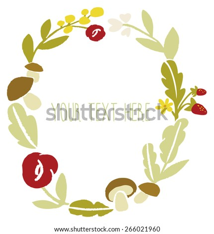 Circlet of flowers.  Floral frame made in vector. Floral Frame. Cute retro flowers arranged un a shape of the wreath perfect for wedding invitations and birthday cards. Vector banner design. - stock vector