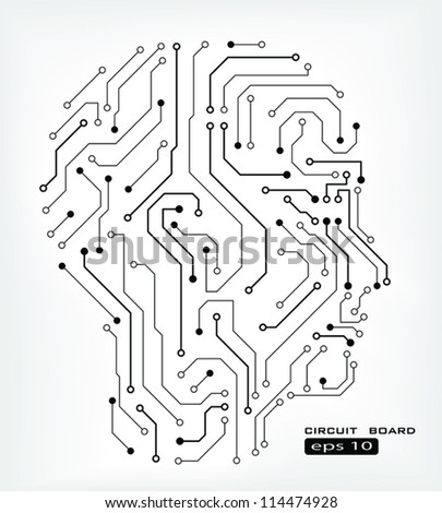 circuit abstract human head vector background - stock vector