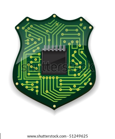 Circuit Badge - Vector Illustration - stock vector
