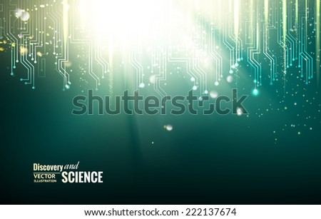 Circuit blue lights background. Vector illustration. - stock vector