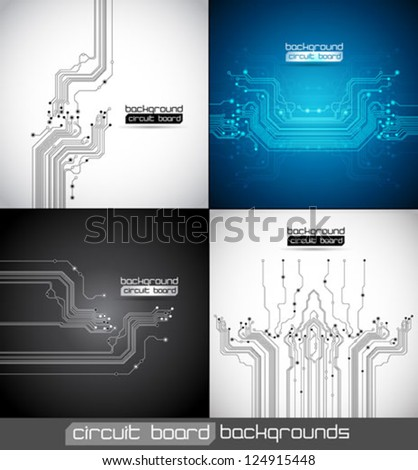 circuit board abstract backgrounds set - vector - stock vector