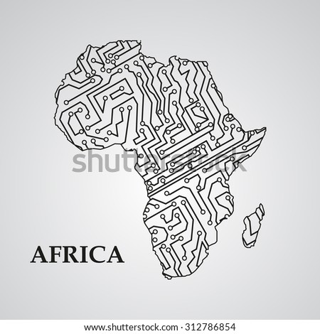 Circuit board Africa eps 10, vector elegant illustration - stock vector