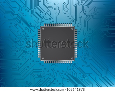 circuit board and chip processor - stock vector