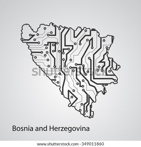 Circuit board Bosnia and Herzegovina eps 10, vector elegant illustration